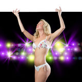 Young attractive woman in bikini holding banner Royalty Free Stock Photos
