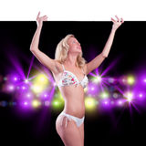 Young attractive woman in bikini holding banner Royalty Free Stock Photo