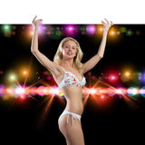 Young attractive woman in bikini holding banner Royalty Free Stock Images