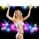 Young attractive woman in bikini holding banner Royalty Free Stock Photography