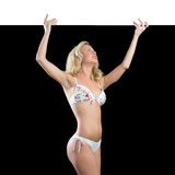 Young attractive woman in bikini holding banner Royalty Free Stock Image