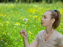 The young attractive woman blows off fuzzes from a dandelion Royalty Free Stock Photography
