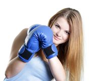 Young attractive woman boxer Royalty Free Stock Photography