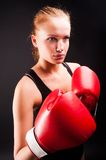 Pretty girl with boxing gloves Royalty Free Stock Photography