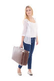 Young attractive woman with brown retro suitcase isolated on whi Royalty Free Stock Image