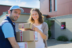 Young attractive woman checking her parcel Stock Images