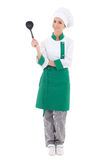 Young attractive woman chef with big plastic spoon - full length Royalty Free Stock Photography