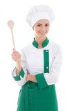 Young attractive woman chef with big wooden spoon isolated on wh Stock Images
