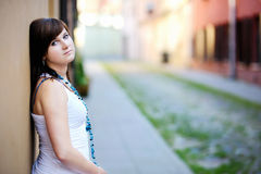 Young attractive woman in a city Royalty Free Stock Images
