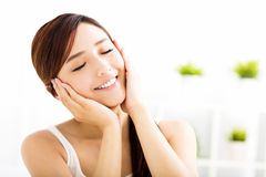 Young attractive  woman with clean face Stock Image