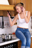 Young attractive woman cooking stock images