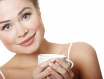 Young attractive woman with cup Royalty Free Stock Photo