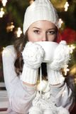Young attractive woman with cup of coffee Royalty Free Stock Photography