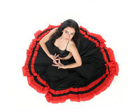 Young attractive woman dancing flamenco Royalty Free Stock Image