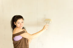 Young attractive woman decorating stock images