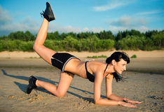 Young attractive woman doing fitness exercise Stock Image