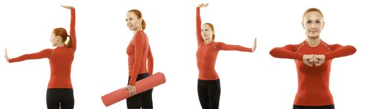 Young attractive woman doing fitness yoga Royalty Free Stock Photos