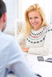 Young attractive woman doing a job interview Royalty Free Stock Images