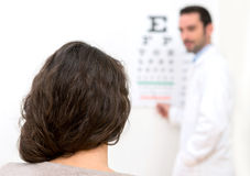 Young attractive woman doing optician test Stock Photography