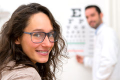 Young attractive woman doing optician test Stock Photo