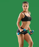 Young attractive woman with dumbbells in her hands posing in stu Stock Image