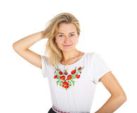 Young attractive woman in embroidery Stock Images