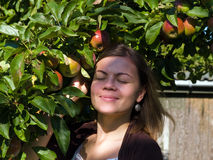 Young attractive woman enjoy apples Royalty Free Stock Photos