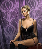 A young and attractive woman in erotic lingerie Stock Photography