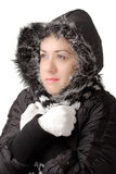 Young attractive woman feeling cold stock image