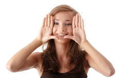 Young Attractive Woman Framing Her Face Royalty Free Stock Photo