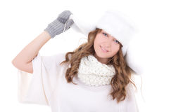 Young attractive woman in fur hat and mittens isolated on white. Background Royalty Free Stock Images