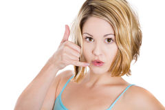 young attractive woman gesturing talking on telephone sign Stock Images