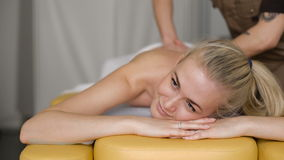 Young attractive woman getting spa treatment stock footage