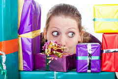 Young attractive woman with gifts Stock Photos