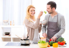 Young attractive woman give food to her husband to taste Stock Images