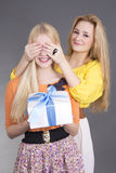 Young attractive woman giving a present to her surprised friend Stock Photo