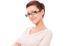 Young attractive woman with glasses portrait isola Stock Images