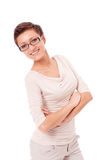 Young attractive woman with glasses portrait isolated Stock Images