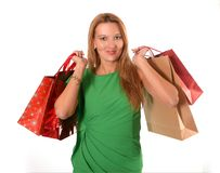 Young attractive woman going shopping Stock Photos