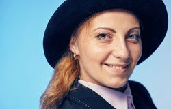 Young attractive woman in a hat. Portrait of a young attractive woman in a hat Royalty Free Stock Photos
