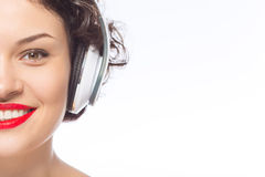 Young attractive woman in headphones Royalty Free Stock Photo