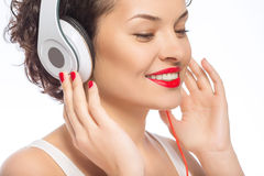 Young attractive woman in headphones Stock Photography