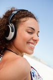 Young attractive woman with a headset Stock Photo