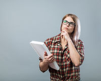 Young attractive woman hold book Stock Photo