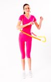 Young attractive woman holding hula hoop Stock Image