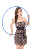 Young attractive woman holding hula hoop Royalty Free Stock Photography