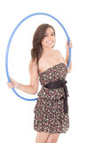 Young attractive woman holding hula hoop Stock Photo