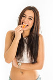 Young attractive woman holding sushi with her Stock Photo
