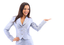 Young attractive woman holds Stock Photo