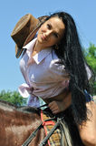 Young attractive  woman and horse Stock Photography